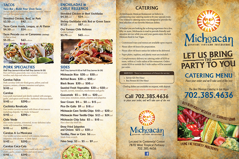 Catering Menu Michoaci N Mexican Restaurant Las Vegas Nevada